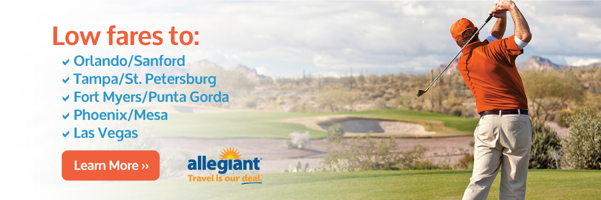 Man on golf course; low fares on Allegiant Air