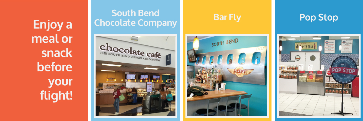 Photos of South Bend Chocolate Company, Bar Fly and Pop Stop; Enjoy a meal or snack before your flight