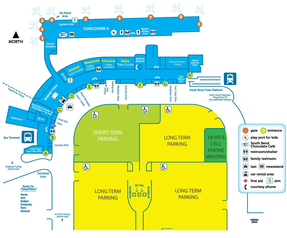 Terminal Hours & Map | South Bend International Airport on midtown parking map, state parking map, jfk parking map, eppley airfield parking map, hotel parking map, old sacramento parking map, palace parking map, atlantic city parking map, lax parking map, harvard parking map, o'hare parking map, mile high parking map, midway parking map, back bay parking map, reagan national parking map, gaslamp parking map,