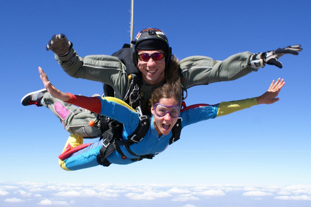 Two people on a tandem skydive