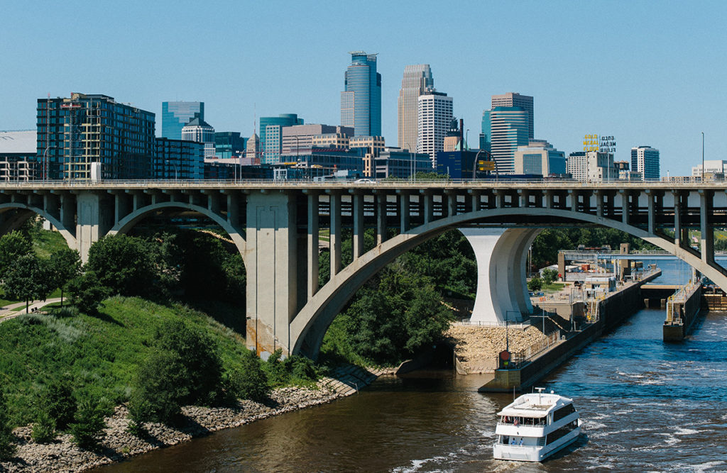 Minneapolis skyline with bridge