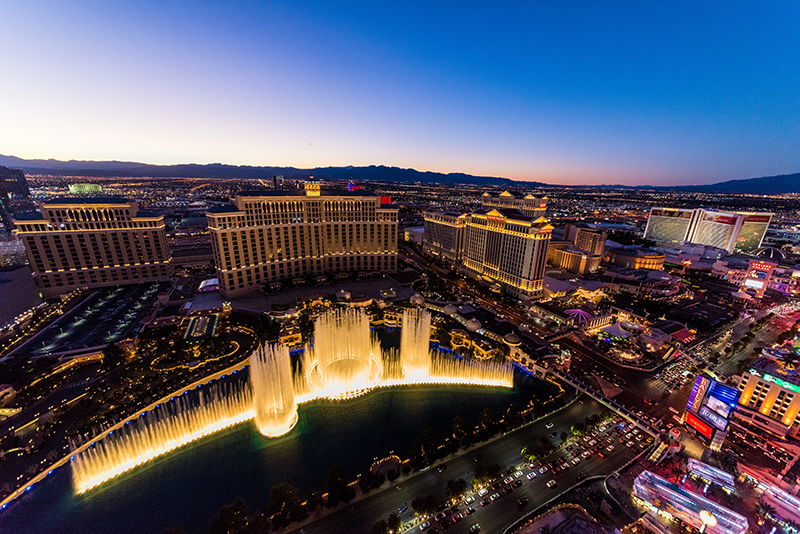 Aerial view of the fountains at the Bellagio in Las Vegas