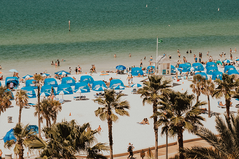 People enjoying the beach in St. Petersburg, Florida