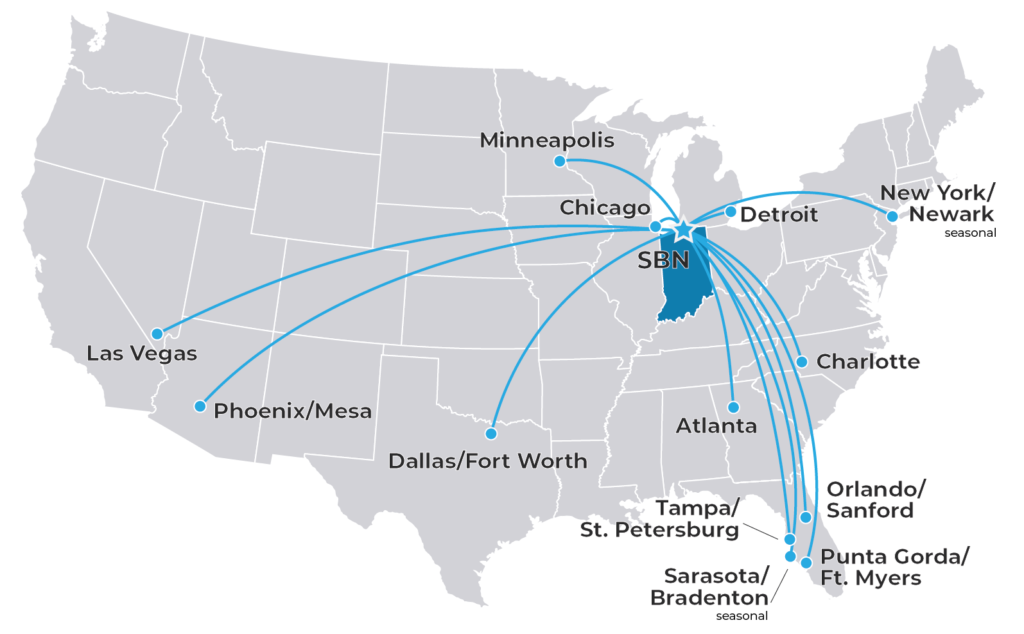 Map of U.S. showing flights to 13 cities from SBN