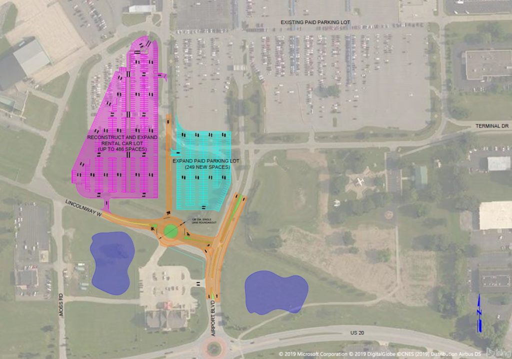 Aerial view of SBN shows reconstruction and expansion of rental car lot and expansion of paid parking lot