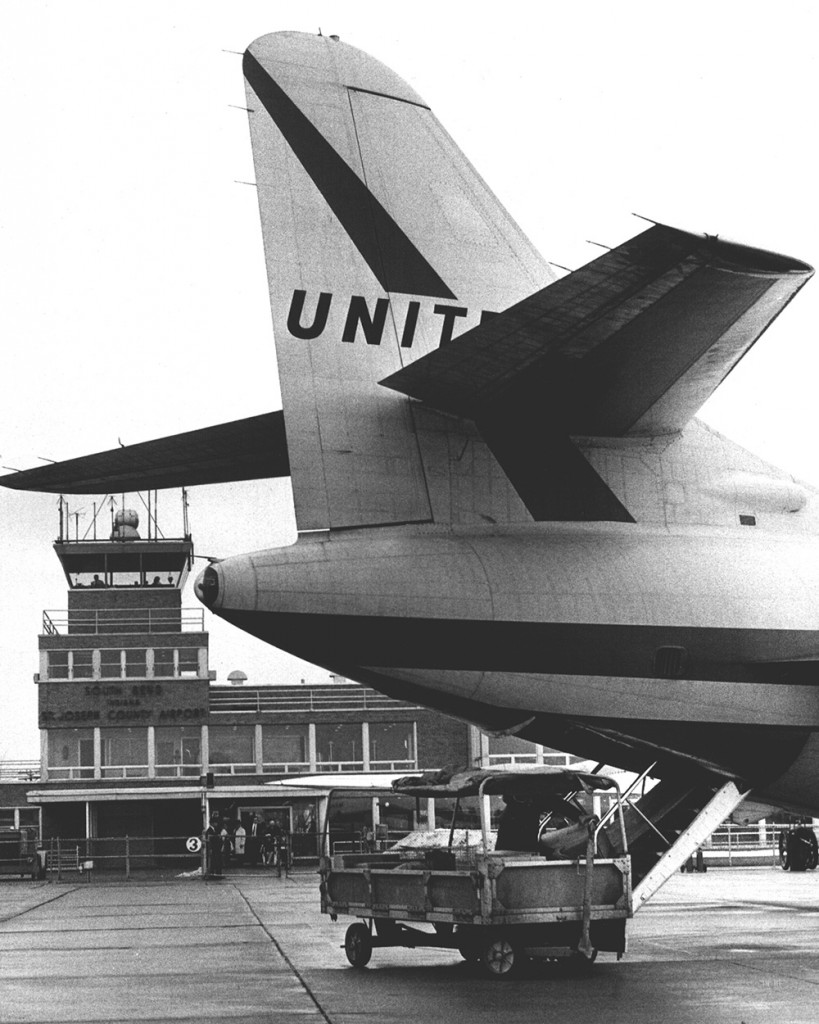 1967 - United Airlines inaugurates commercial jet service at the airport with a flight from South Bend to New York City by way of Fort Wayne, IN.