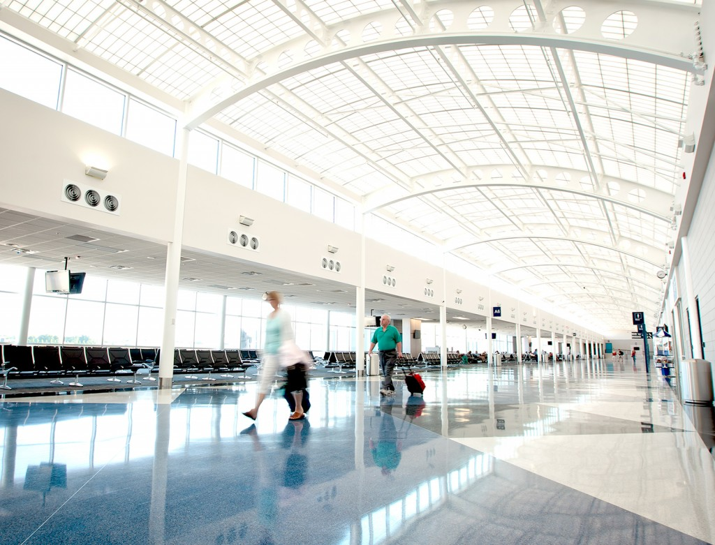 Passengers walking inside the terminal at South Bend Airport